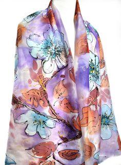 Hand Painted Silk Scarf Silk Painting Wedding Bridal Shawl