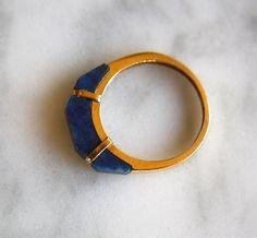 ANTIQUE LAPIS lazuli 14K gold modern geometric by ingramcecil