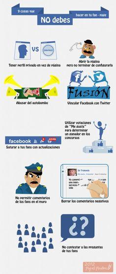 Sencillo pero cierto: 9 cosas que no debes hacer en tu fanpage de Facebook #infografia