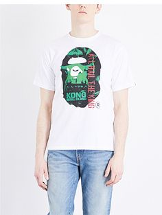 A BATHING APE Kong ape head cotton-jersey T-shirt