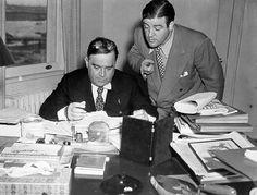 Comedian Lou Costello 'advising' Mayor Fiorello La Guardia in his City Hall office, circa 1936 #newyorkers