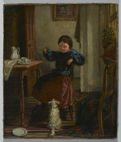 Girl and Dog 1860  by John Barnard Whittaker