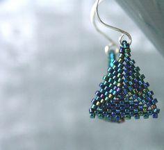 Beaded Triangle Earrings  Gunmetal Earrings  by ThreeFatesDesign, $18.00