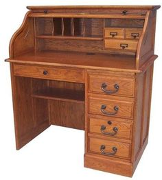 Small Roll Top Desk Single Pedestal 42in. Solid Wood Home Office Locking