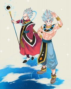 Vegeta and Goku as Whis and Beerus
