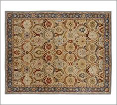 I love everything about this rug. The colors, the pattern.  Eclectic and ges with our color scheme.  Eva Persian-Style Rug | Pottery Barn