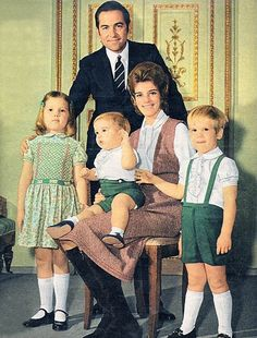 The Greek Royal Family; King Constantine, Queen Anne-Marie and three of their children; Princess Alexia, Prince Pavlos and Prince Nikolaos