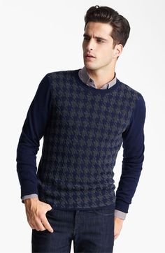 A sweater with and interesting pattern makes simplicity look fabulous. Z Zegna Houndstooth Crewneck Sweater available at #Nordstrom