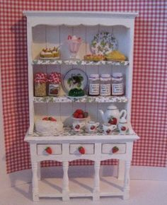 Dollhouse Filled Hutch, Strawberry themed.   Twelfh scale dollhouse miniature