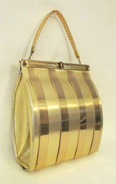 Vintage 1940s 1950s RARE Goldstrom Metal Handbag Leather Trim