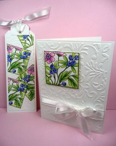 gorgeous. Magenta stamp: Wild Berries. emboss folder, layering, bookmark and card.