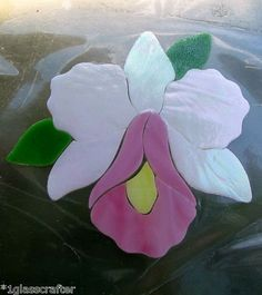 Pretty little Orchid stained glass mosaic inlay kit.