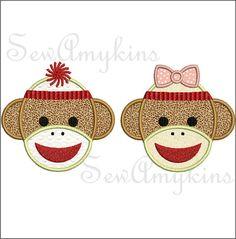 Sock Monkey applique machine embroidery design Boy & by SewAmykins, $3.20