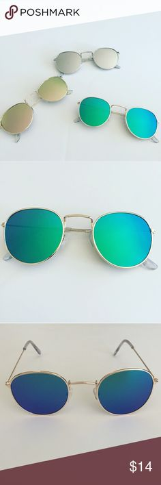 """Retro Round Mirrored Sunglasses Brand new boutique item, retro round Mirrored Sunglasses. The color choices are blue-green with gold frame Rose Gold with gold frame, or silver with silver frame. Listing price is for one pair of sunglasses and you may choose the color in the size options- may bundle and receive a discount if you would like more than one pair. Each lens is 2"""" in diameter. Accessories Sunglasses"""