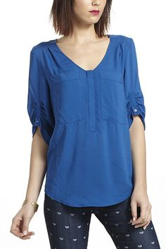 Charleston Henley Peasant Blouse #anthropologie