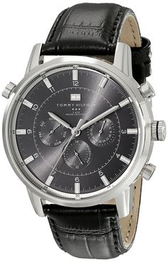 Tommy Hilfiger Men's 1790875 Sport Luxury Stainless Steel Watch with Black Leather Band * To view further for this watch, visit the image link.