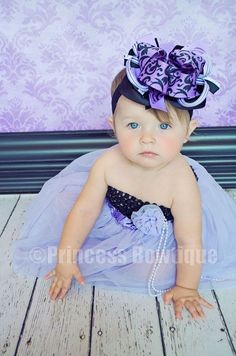 Lavender Damask Boutique Hair Bow Headband for Girls Babies