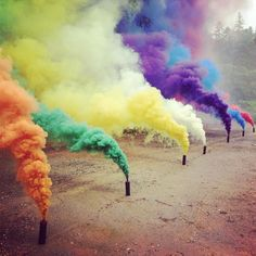 Hmmm.... Maybe for the Engagement photos! ~Kelly These Color Smoke Grenades features 7 different smoke colors. Cool Burning smoke gives you approx. 90 seconds of dense cover smoke. Ideal for paintball and airsoft scenario games. 5.1 x 1.5 x 1.5 inches ; 4.2 ounces. Please allow 2 weeks for shipping.  $16 each on www.Fancy.com