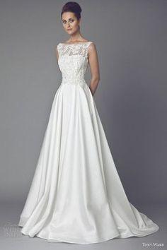 tony ward bridal couture 2015 reine des pres sleeveless wedding dress illusion neckline...love this neckline