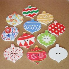 Christmas Ornaments Painting Wooden 2 Holes Buttons Mixed Color 25x26mm 100pcs