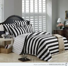 Black And White Striped Duvet Cover Bedding Sets -Full Queen King Size Bedding-Striped and Plaid Bedding