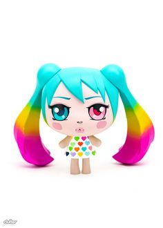 O-Miku Rainbow Colorway 5.5-inch vinyl figure by Clutter Studios Blue Haired Girl, Pop Surrealism, 16 Year Old, Concert Hall, Artists Like, Hatsune Miku, Camilla, Vinyl Figures, One Pic