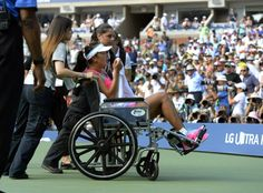 9/5/14 Shuai Peng of China needed assistance leaving the court after succumbing to what appeared to be body cramps. She was treated twice, & in the initial treatment, she received glucose powser. Shuai forced to forfeit in her very 1st U.S. Open SFs Singles match to #10-Seed Caroline Wozniacki who was leading 7-6, 4-3 on her serve. #SpeedyRecovery