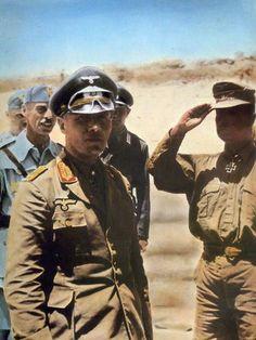 Erwin Rommel and Oberstleutnant der Reserve Wilhelm Bach (saluting. Heer Oberstleutnant, Ritterkreuzträger
