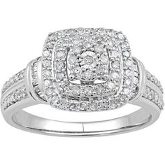 Forever Bride 1/2 Carat T.W. Diamond Double Framed Sterling Silver Bridal Ring