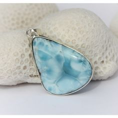 Larimar Sky Blue Marbled Rustic Reversible Pendant Foamy Rocky Beach... ($91) ❤ liked on Polyvore featuring jewelry, pendants, sterling silver pendants, marble pendant, hand crafted jewelry, sterling silver jewellery and larimar pendant