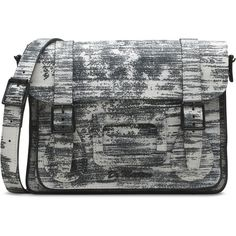 """Dr. Martens Paint Slick 11"""" Leather Satchel Bag ($160) ❤ liked on Polyvore featuring bags, handbags, handbag satchel, dr. martens, real leather purses, leather purse and satchel purse"""