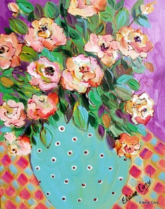 Love the pink flowers, aqua vase, checkered tablecloth and purple back ground by  Elaine Cory