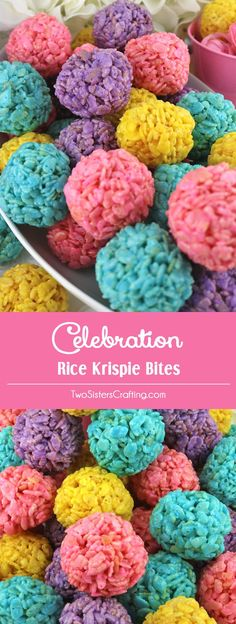 Celebration Rice Krispie Bites - Yummy, bite-sized balls of crunchy, marshmallow-y delight. This is a Easter dessert that is easy to make and even yummier to eat. These colorful and festive Easter Treats are sure to please your loved ones. Easter Snacks, Easter Treats, Easter Recipes, Easter Food, Easter Eggs, Mini Desserts, Spring Desserts, Colorful Desserts, Spring Treats