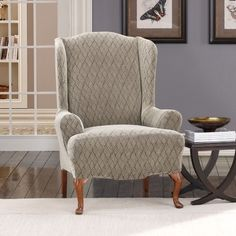 Wing Chair Slipcovers | Wayfair - Buy Wing Chair Slipcovers Online.  A slip cover to make my wingback chairs work now.