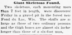 Nephilim Chronicles: Giant Human Skeletons: Giant Human Sioux Skeletons Discovered Near Fond du Lac, Wisconsin