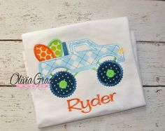 Easter Egg Shirt Monster Truck Embroidered by OliviaGraceCouture