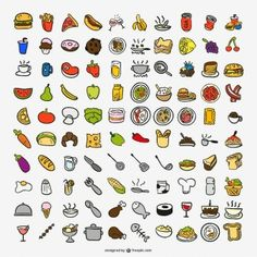 100 food and kitchen supplies icon vector Food Doodles, Cute Doodles, Doodle Icon, Doodle Art, Kawaii Drawings, Easy Drawings, Kitchen Icon, Food Icons, Bullet Journal Art