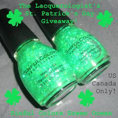 The Lacquerologist: ST. PATTY'S GIVEAWAY: Sinful Colors Green Ocean! Two Winners!