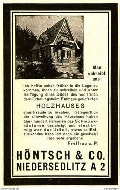 Werbung - Original-Werbung/ Anzeige 1925 - HÖNTSCH HOLZHÄUSER - DRESDEN - NIEDERSEDLITZ - ca. 65 x 110 mm