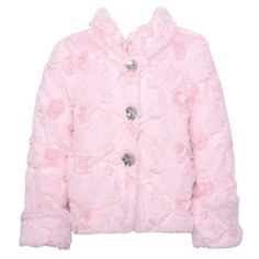 Your little girl will love the fuzzy feeling this pink coat jacket by Lipstik brings. The coat is made of faux fur and features rosette detail and has a soft texture and sparkly large buttons. Pair it with her favorite clothes for an outfit she will love
