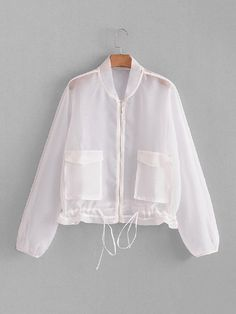 To find out about the Drawstring Hem Mesh Jacket at SHEIN, part of our latest Jackets ready to shop online today! Cute Fashion, Look Fashion, Teen Fashion, Korean Fashion, Fashion Design, Mesh Jacket, Blazer Jacket, Adidas Jacket, Fancy Tops