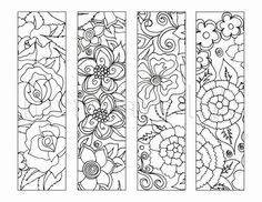 4 Flower Colouring Bookmarks Instant Download by IntrikateInk