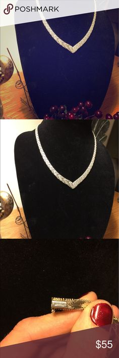 Vintage Sterling Silver Herringbone Necklace Vintage 925 Sterling Silver Herringbone Necklace: absolutely stunning piece and in excellent condition. Jewelry Necklaces