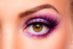 Glitter Purple Eye Makeup for Amber Eyes
