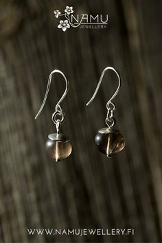 Silo One Earrings. Made of recycled silver and ethically sourced smokey quartz. The stones in Silo are tumbled to remind pebbles at a beach. Smokey Quartz, Stones, Drop Earrings, Jewellery, Beach, Silver, Accessories, Shopping, Rocks