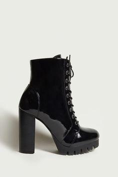 Faux Patent Platform Boots