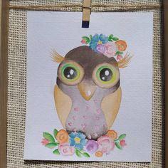 Owl Watercolor, Watercolor Paintings, Cute Owl, Water Colors, Watercolour Paintings, Watercolor Painting