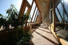 Atrium of an earthship in Australia.