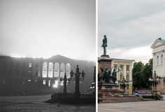 Unique way of showing and comparing how Helsinki looked when suffered by the Russian bomb raids during WWII. Put the cursor on the photos and draw from right to left to unveil the whole picture for comparison Helsinki, Historian, Denmark, Wwii, Mythology, Norway, Sweden, To Go, Photos