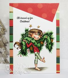 """Card featuring """"Christmas Sissy"""" by Kraftin' Kimmie Stamps. www.kraftinkimmiestamps.com"""